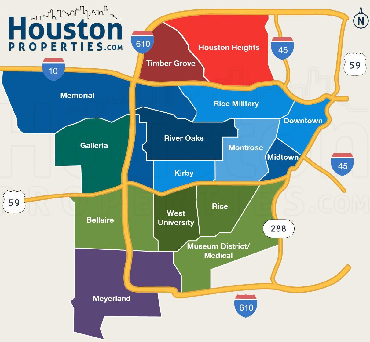 houston neighborhood map map of houston neighborhoods texas usa