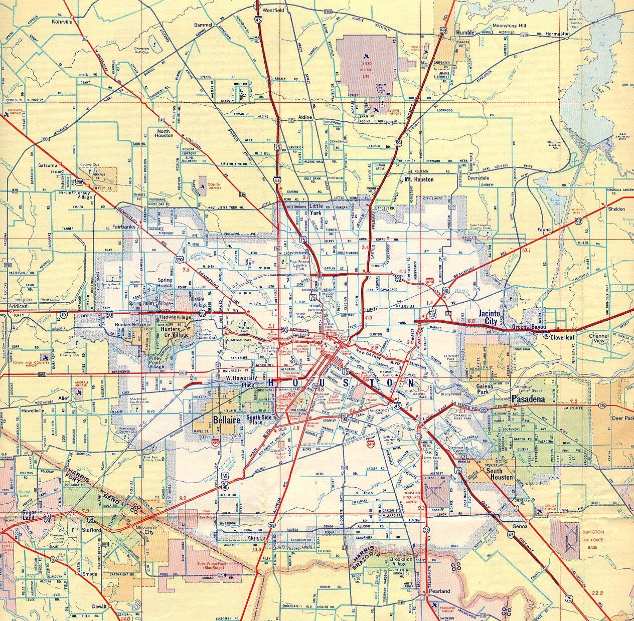 Houston Road Map Road Map Of Houston Texas USA - Texas usa map